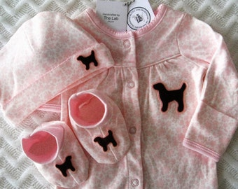 Chocolate Lab Pink Floral Layette Set