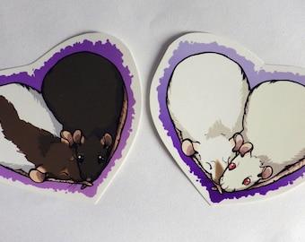 Rat Heart - Cute Fancy Rat Vinyl Stickers x2 Custom options
