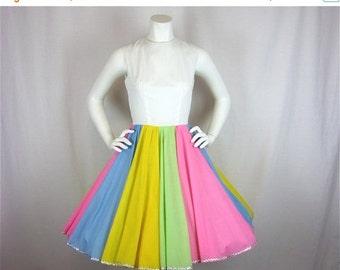 50% Off Sale Vintage 1960s Pastel Rainbow Cotton Dress, Sz S