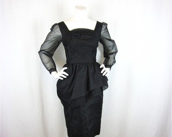 50% Off Sale Vintage 50s 60s Little Black Wiggle Dress, Sz S