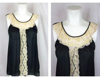 Vintage Babydoll Top / Camisole Lace, Nylon, Sz S / M