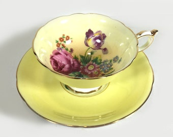 Vintage Paragon Tea Cup and Saucer - Lemon Yellow with Floral Center, Pink Rose, Lavender Tulip, Gold Trim, Footed Cup