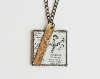 hola chica - framed glass pendant vintage dictionary handmade metal charm