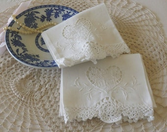 Embroidered White Linen Towels, Pair of Vintage Cutwork Crochet-trim Tea Towels