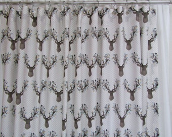Cabin Lodge Decor, Rustic Shower Curtain,  Forest Animal, Cottage Chic Shower Curtain, Neutral Shower Curtain, Custom Fabric Shower Curtain