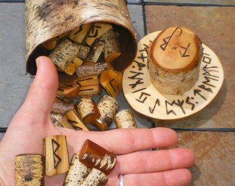 Silver Birch Rune Set and Birch Bark Casting Cup