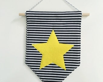 Star felt banner *YELLOW*, felt banner, wall banner, pennant, wall decor, wall hanging, nursery decor, star decor