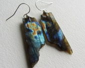 Raw Labradorite Earrings with Sterling Silver