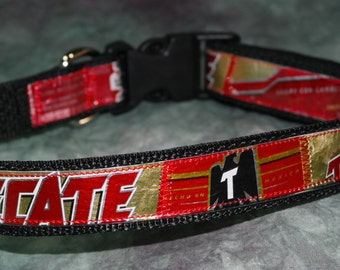 Cerveza por favor!! Adjustable Dog Collar from Recycled Tecate Beer Labels