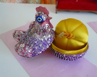 Vintage Pincushion Hen on a Nest Pin Cushion Purple Glitter Pin Cushion Sewing Box Chicken Pincushion Collectible