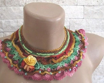 Crochet necklace, Statement Necklace, Degrade Thread, Blue, Green, Seed Bead , Crochet Cotton Lace Necklace, OOAK
