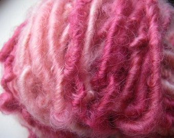 Handspun Hand Dyed Soft Curly Bulky Cotswold Wool Art Yarn in Two Pinks by KnoxFarmFiber for Knit Weave Felt Crochet