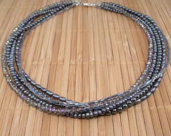 Gray Pearls  Hematite 5 Strand Necklace Shimmery Gray Multistrand Gray Torsade Gray Gemstone Twisted Silvery Statement Rare Find Crystal