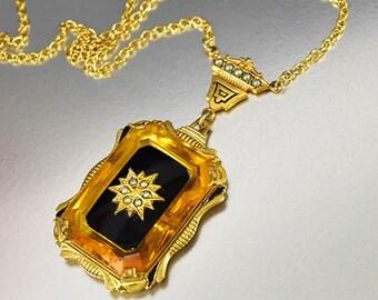 Vintage Topaz Onyx Crystal Art Deco Necklace, Gold Pearl Enamel Necklace, Starburst Necklace Pendant, Antique Necklace, Camphor Glass Style