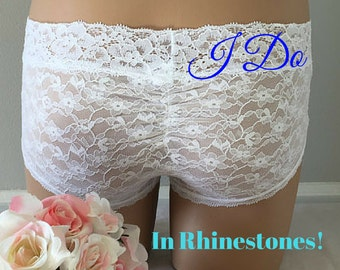 Small - Bridal Panty, White Undie with BLUE stones, Mrs or I do in rhinestones Wedding size Small -