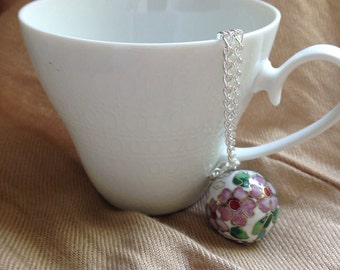 """Cloisonné Pendant on 30"""" Silver Plated Chain"""