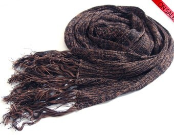 ON SALE Eco-friendly Scarf or Wrap - brown and navy Tencel - luxurious gift for men