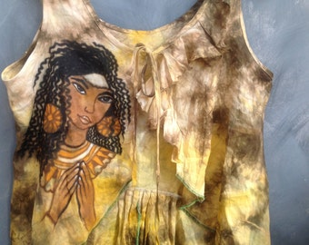 Ethiopian princess linen top handpainted quirky art to wear size large Egyptian linen handdyed top