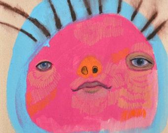 OOAK Original Pink Face Painting on Wood Panel