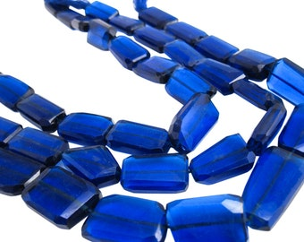 Blue Quartz Beads, Royal Blue, Blue Quartz Nuggets, Wholesale Quartz, Faceted Nuggets, 16mm x 27mm, SKU 3932A