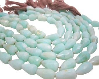 Peruvian Blue Opal Beads, Peruvian Opal, Faceted Teardrop Briolettes, Blue Opal Beads, SKU 4131A