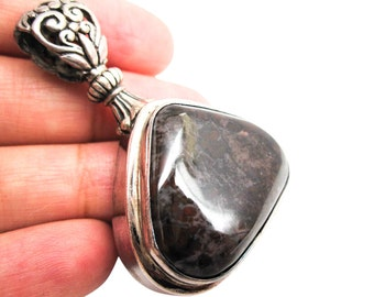 AAA Sugilite Pendant, Sterling Silver, Sugilite, Natural African Sugilite, 925 Silver, Handmade in Bali, Loveofjewelry, SKU 3790