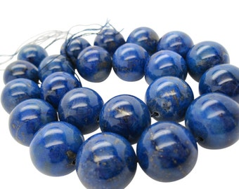 Lapis Lazuli, AAA Grade Lapis Beads, 18mm Smooth Round, Full Strand, SKU 5105A