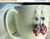 Floral earrings ...  purple ceramic flower earrings with Swarovski crystals ... purple flower blooming