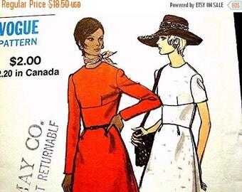 SALE 25% Off Vogue Pattern 1960s Ladies Dress Pattern Misses size 14 UNCUT  Womens A-line Dress Vintage Sewing Pattern 60s