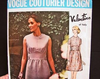 1960s Dress Pattern Vogue Couturier Pattern Designer Valentino Misses size 10 Womens Mod Mini Dress Sewing Pattern