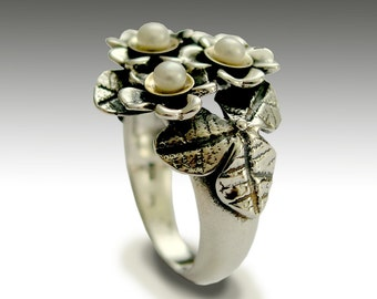 Bridesmaids ring, Sterling silver ring, floral ring, woodland ring, pearls ring, two tones ring, flowers ring - With you - R1689G