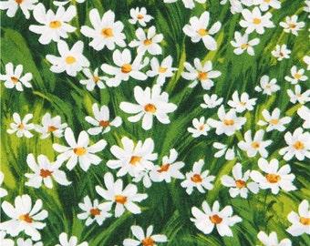 202706 green meadow white light grey daisy flower Michael Miller fabric