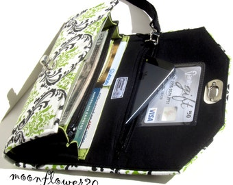 Black and Green Twist Lock Wallet - Wristlet - Clutch With Removable Strap - iPhone Case - Cell Phone Case