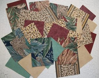 Leopard Zebra Jungle Vintage Wallpaper Scrap Pack 27 Pcs. Safari Animal Print Paper Pack Lot of Wallpaper Scraps Scrapbooking