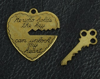 Heart with a Key charm set, sold by 6 each , 15266BR