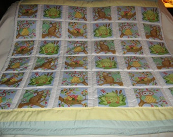 Handmade Woodland Friends Forest Animals Cotton Baby/Toddler Quilt - Newly Made