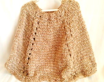 Ready to Ship. Little Girl Poncho. Soft Hand Knit High Quality Acrylic Polyester Blend. Two Tone. Tan. Gold. Beige. Knit Poncho. Knit Cape.