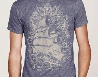Pirate Ship T-shirt, Nautical T shirt,  Vintage Sailing Ship t-shirt, Unisex t-shirt, Fashion Gift for Him