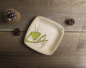 Boy ceramic insect dish, small praying mantis dish