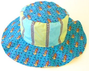 SALE - Toddler wide brim sun hat, summer sun hat for boys, beach hat, rockets and bugs
