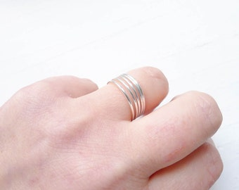 Wispy Thin Stacking Rings Skinny Sterling Silver Wire Ring Size 7 1mm (RHSR457)