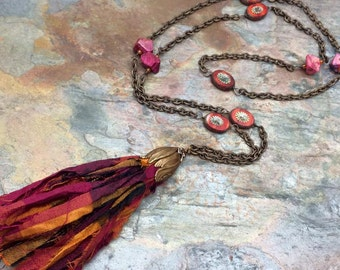 Tulip Multi Color Silk Tassel Necklace with 30 Inch Chain, Antique Brass, Boho, Bohemian, Gypsy, Hippie