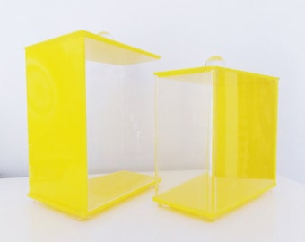 vintage 1970s yellow lucite canister set of 2/ modernist storage boxes/ mid century kitchen decor containers