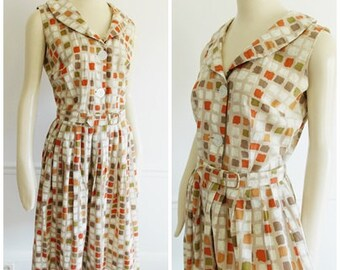 1950s Geometric abstract Dress / Mid Century multi color pleated dress/ modernist summer dress