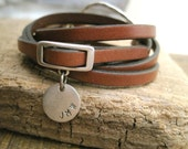 Personalized Leather Charm Wrap Bracelet - Item 2881