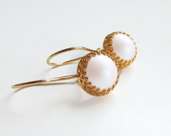 White pearl earrings - Swarovski - as seen on Jane the Virgin - iridescent pearl
