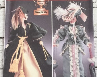 """Simplicity 7213 Diva Doll Collection Clothes 11-1/2"""" Sewing Pattern Scarlett Gone with the Wind Barbie UNCUT"""