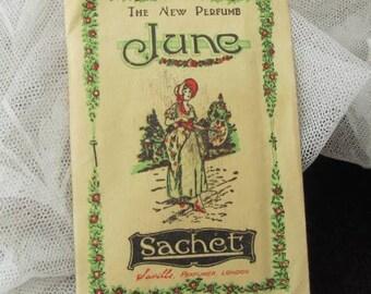 "Sweet Smelling Sachet - Vintage ""June"" Perfume Sachet - Crinoline Lady - 1930s"