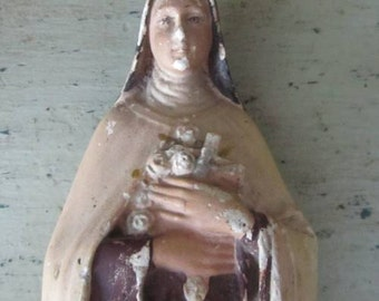 Saying Her Prayers - Antique French Plaster Religious Figure of Madonna or Nun - Icon