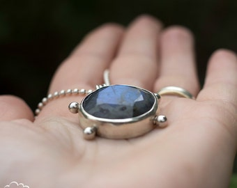Faceted Labradorite in Sterling silver bohemian necklace - Midnight Skies Turquoise -